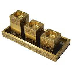 Wooden Candle Tray Holder With Brass Work