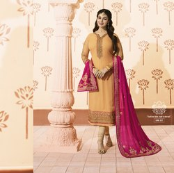 Heavy Embroidery Straight Salwar Suit