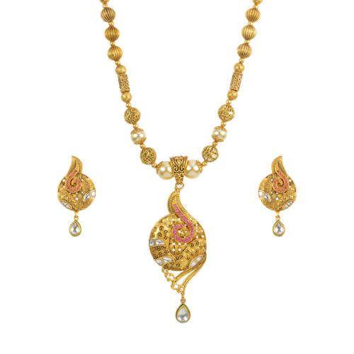 Antique Gold Plated Mala Pendant Set