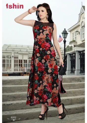 ef37c86b9 Women Western Dresses - Printed Georgette Printed Western Dress ...