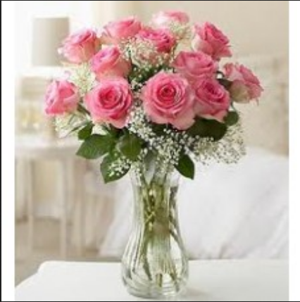 Glass Vase 12 Pink Roses Glass Vase Retailer From Gwalior