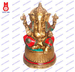 Lord Ganesh On Base W/Stone Work Statue