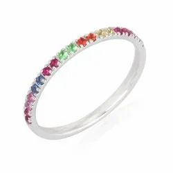 Multi Sapphire Half Eternity Band Ring
