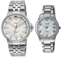 Silver Stainless Steel Couple Watch