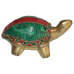 Brass Tortoise With Stone Work