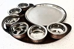 Copper Hammered Maurya Thali Set with Handi Bowls