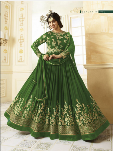 ca3c4892c Women s Parrot Green Georgette Embroidered Long Semi-Stitched Salwar Suit