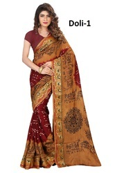 Beige Printed Bandhani Saree