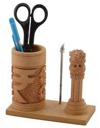 Rajrang Hand Carved Wooden Pen Holder