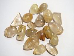 Golden Rutilated Tourmalinated Quartz Rutile Stone Cabochon