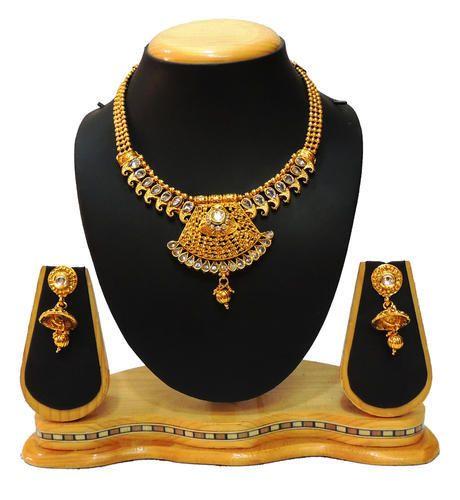 Traditional Golden Neck Fit Necklace Set