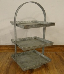 Rectangular 3 -tier Galvanized Storage Cake Stand/stand