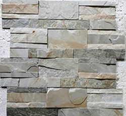 Himachal white slate stone wall Panel for wall cladding