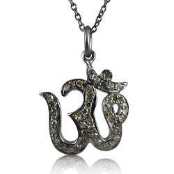 925 Sterling Silver Diamond OM Necklace