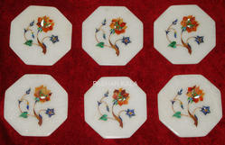 Decorative Inlay Marble Coaster Set
