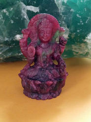Handcarved Statue Of Laxmi Ji In  Ruby