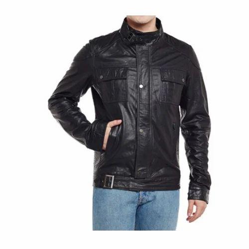 a50cd3de2afc0 Biker Jackets - Men s Buckle Style Closure Black Leather Jacket ...