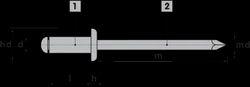Grooved Blind Rivets Domed Head Steel Zinc Plated Steel Zinc