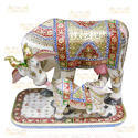 Designer Marble Cow and Calf Statue