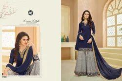Blue Nd Grey Designer Sarara Style Suit