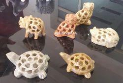 Soapstone Undercut Animals Sculpture