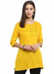 Spoorthi Women's Rayon Solid Straight Kurti