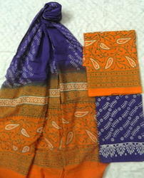 Aaditri Orange Cotton Ladies Suits