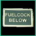 Nameplate Fuel Cock Below (Brass)