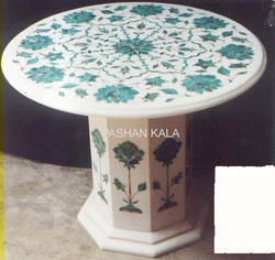 White Marble Inlaid Tables
