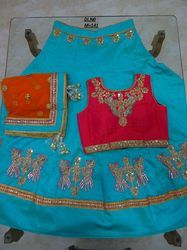 Blue Banglori Silk Embroidered Lehenga Choli