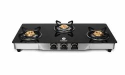 Everest Glass Manual Gas Stove  (3 Burners)