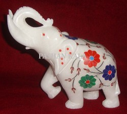 Marble Inlay Trunk Up Elephant