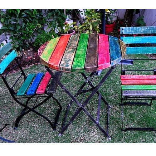 Antique Wooden Furniture Foldable Folding Iron Wooden Garden Chair
