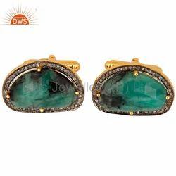 925 Silver Pave Diamond and Emerald Gemstone Cufflinks