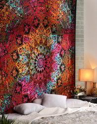 Psychedelic Star Mandala Print Cotton Wall Hanging
