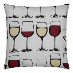 Wine Glass Printed Cotton Cushion
