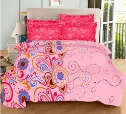 Always Plus Pink, Cream, Sky Blue, Cotton Bedsheet