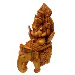 Natural Wooden Carving Elephant Ganesha Statue