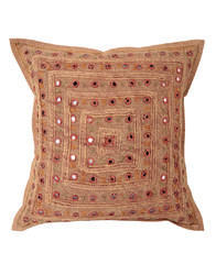 Striped Lace Work Embroidered Square Cotton Cushion Cover