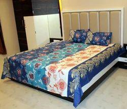 Always Plus Cotton Blue Double Floral Bedsheet