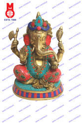 Lord Ganesh Sitting On Base W/Stone & Wire Bead Statue