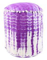 Abstract Tie Dye Purple Cotton Pouf Bench Round Ottoman