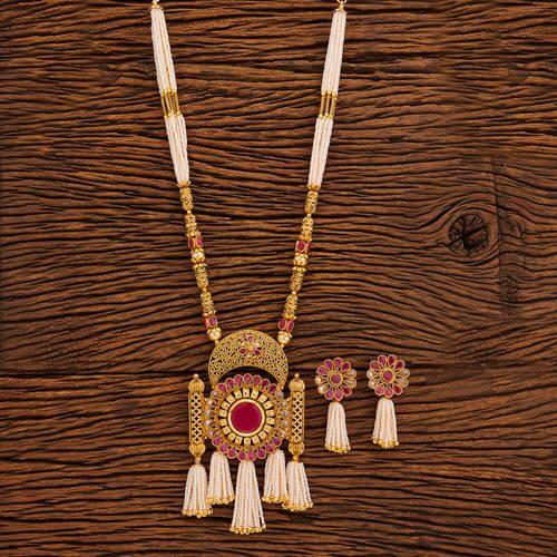 Antique pendants set antique pearl beaded mala pendant set 19265 antique mala pendant set with gold plating 19392 aloadofball Image collections