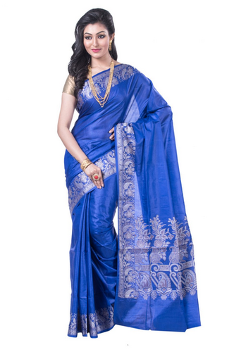 39eb223213c6f Tussar Silk Sarees - Blue Pure Tussar Silk With Weaving Work ...