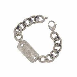 Link Chain Diamond Charm Bracelet