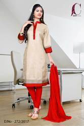 Beige with Red Border Tripura Cotton Uniform Salwar Kameez