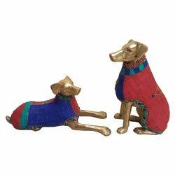 Brass Dog With Stone Work
