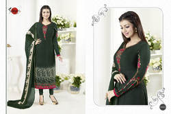 Green Crepe Silky Salwar Suit Fabric