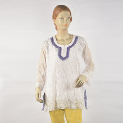 Chikan Embroidered Short Kurti