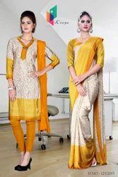 Yellow and Golden Italian Crepe Uniform Saree Kurti Combo